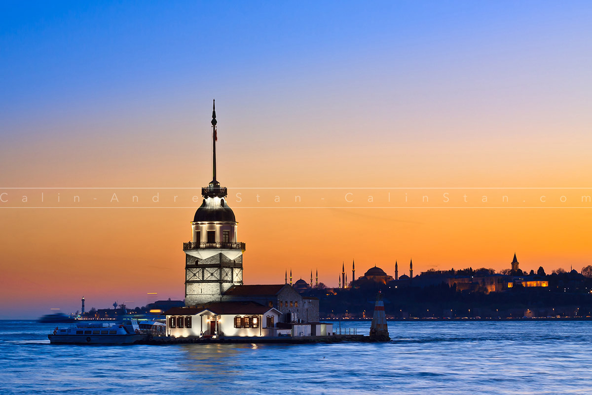Princess Island in Istanbul, at sunset, with Hagia Sophia mosque
