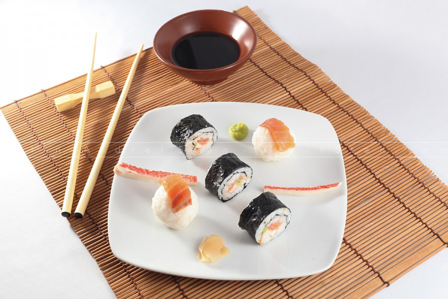 Maki delicious sushi menu with waabi, soy sauce and chopsticks o