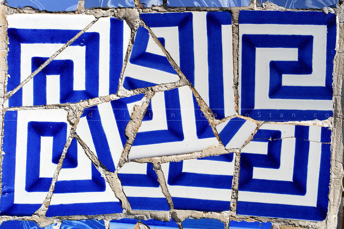 Antonio Gaudi ceramic mosaic detail from Park Guell, Barcelona - Spain