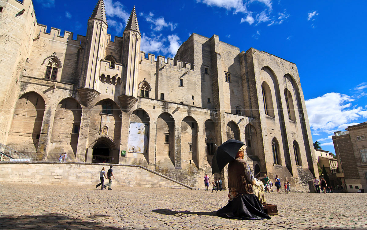 Popes Palace and Cathedral in Avignon France