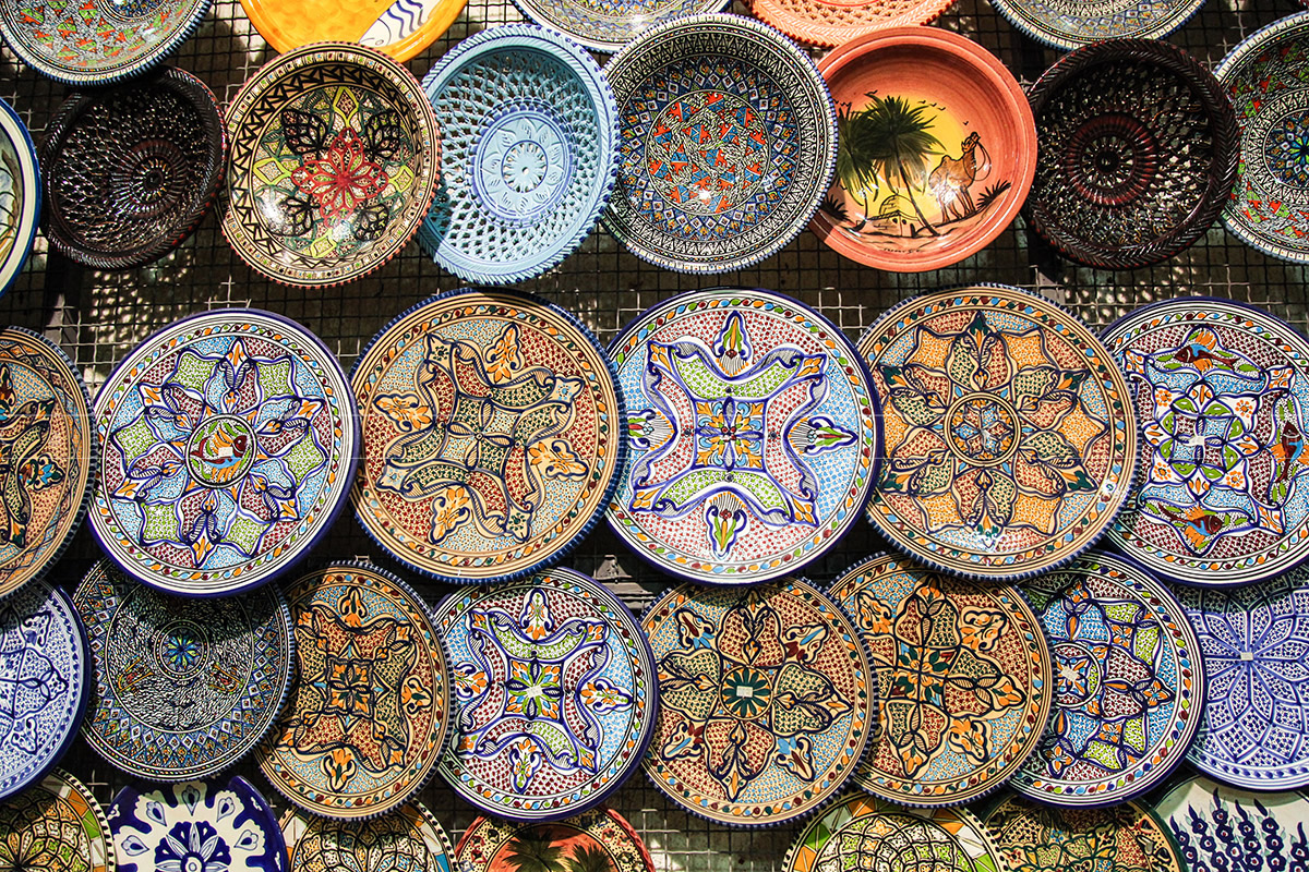 Handcrafted traditional plates and pottery souvenirs from Tuni