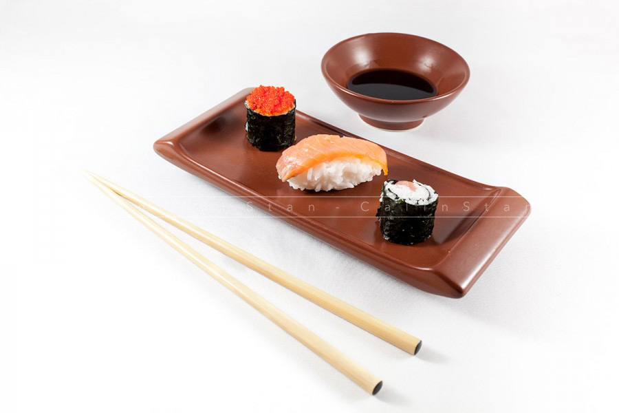 Sushi menu with Wasabi and chopsticks