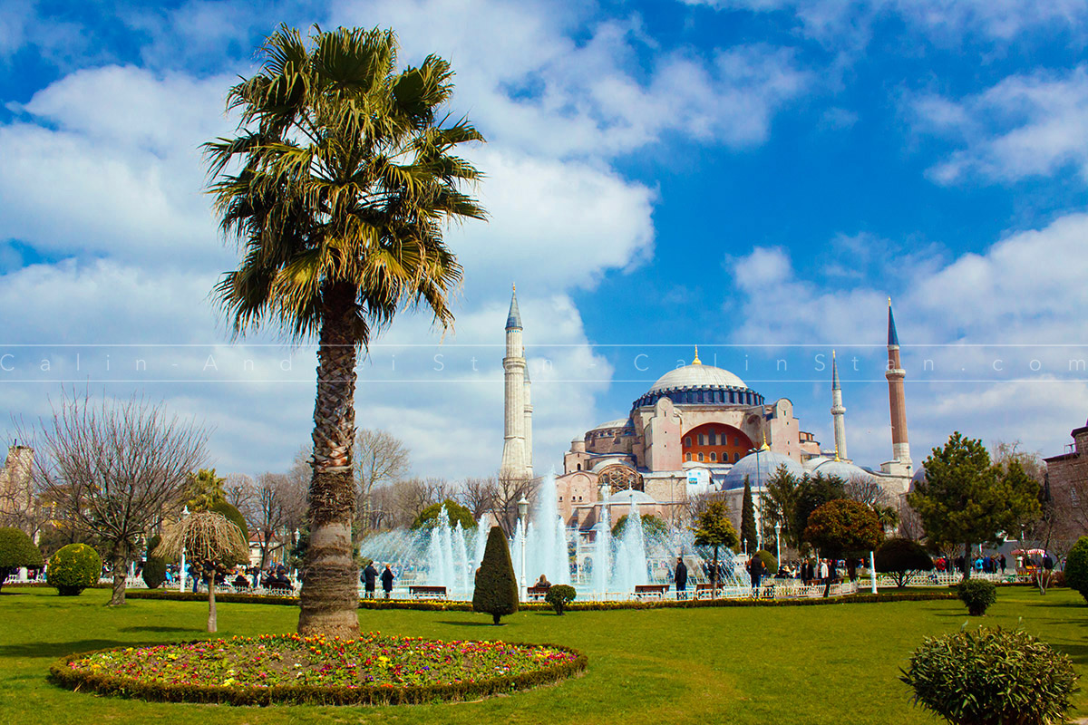 Panoramic view of Hagia Sophia in the summer - Istanbul Turkey