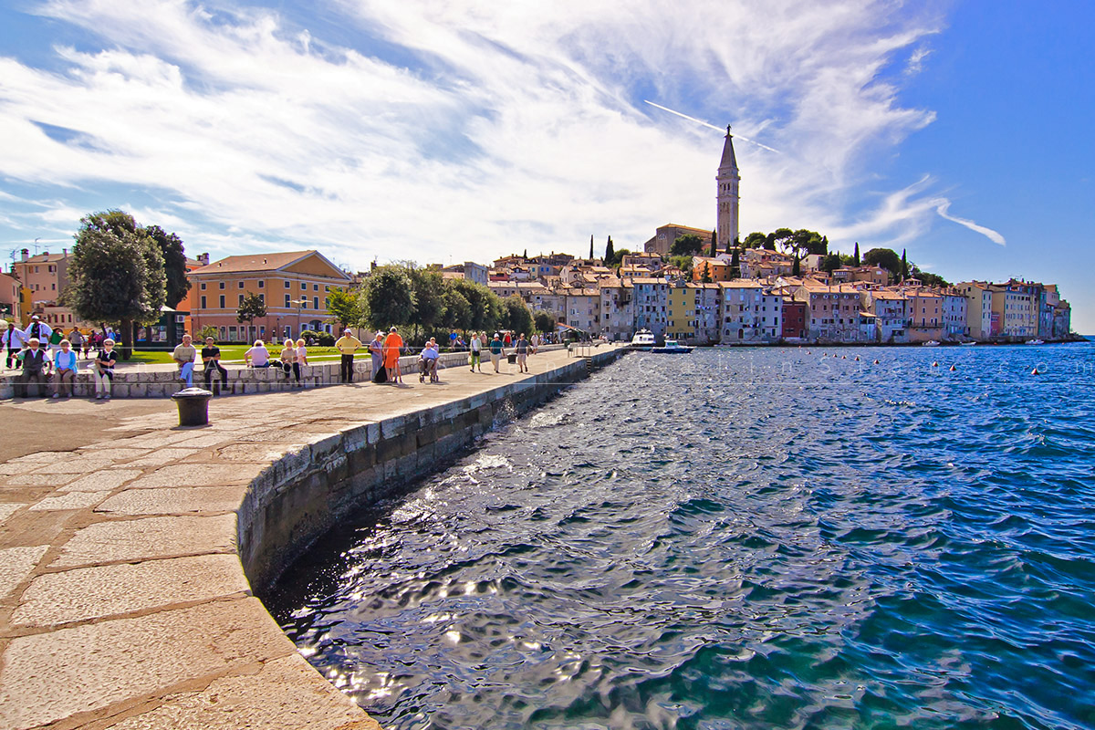 Beautifull view of Rovini Town in Croatia with Cathedral Tower
