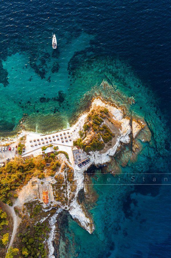 Plaja Karnagio, Thassos, vedere aeriana. Septembrie 2019