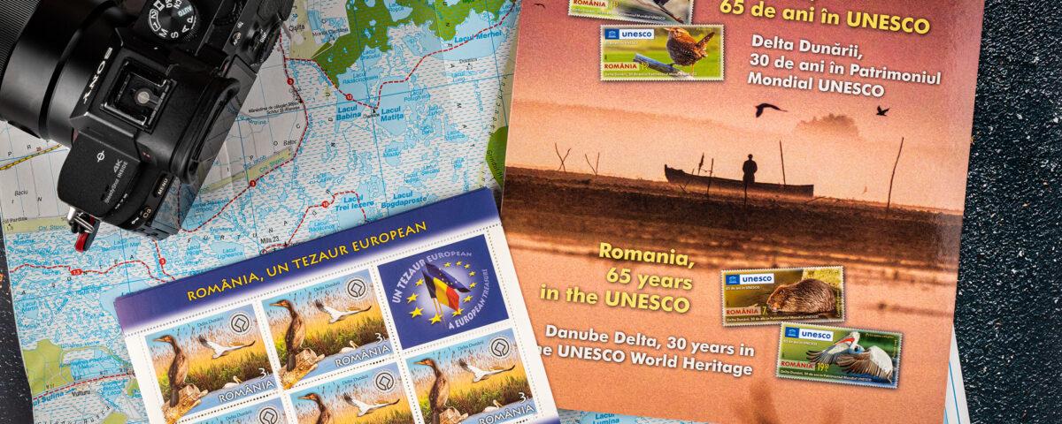 """Cele două emisiuni de timbre Romfilatelia care poartă și """"amprenta"""" mea - două fotografii pe care le-am surprins în Delta Dunării"""